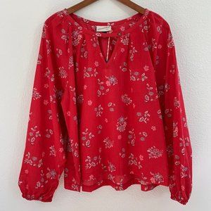 Universal Thread Long Sleeve Floral Blouse Top Red